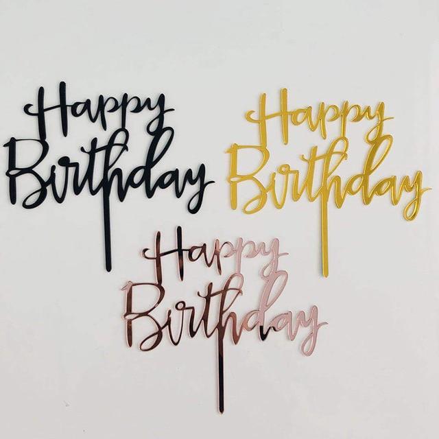 ローズゴールドハッピーバースデーアクリルケーキトッパーピンクラブハートウェディングケーキトッパー誕生日パーティーのケーキの装飾ベビーシャワー