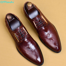QYFCIOUFU Luxury Genuine Leather Men Business Pointy Dress Shoes Breathable Formal Wedding Crocodile Pattern Shoes Men US 11.5