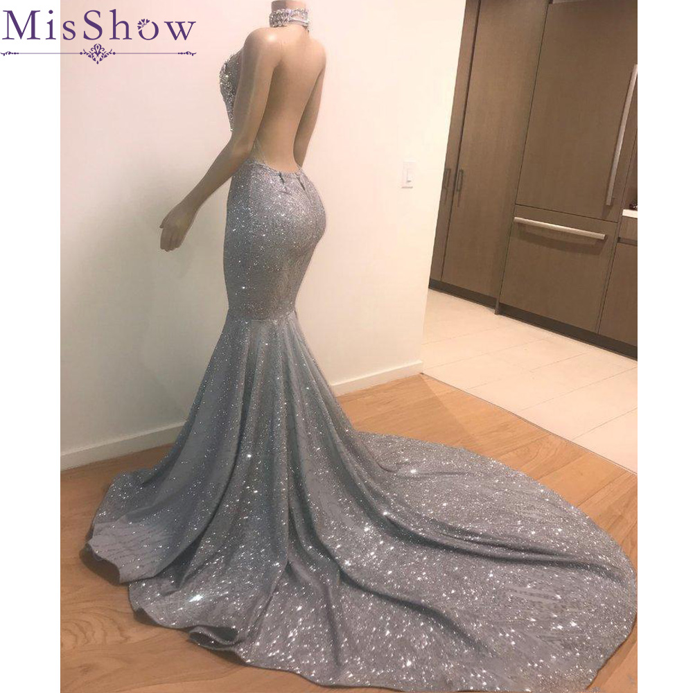 Sparkly Sequin Sexy Halter Mermaid 2019 Vestidos de gala   Prom     Dresses   Backless Black Girls African Formal Evening Party Gowns