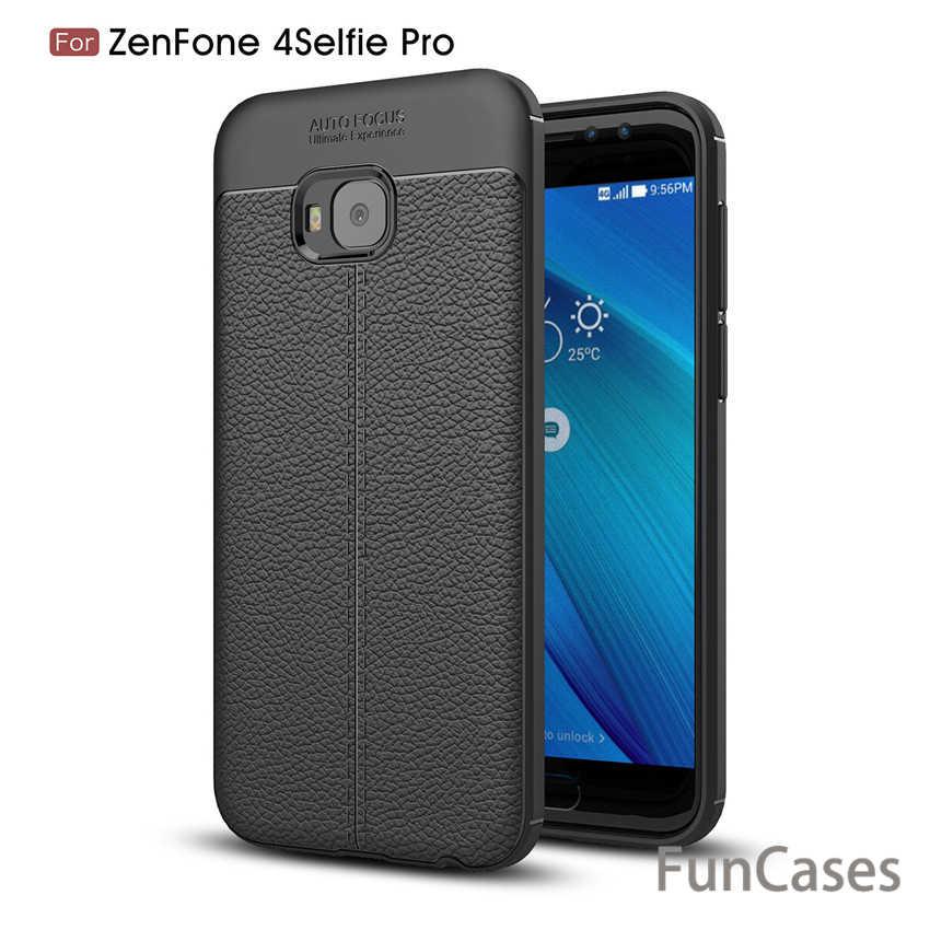 Litchi кожаный зернистый чехол с защитой от отпечатков пальцев, роскошный ударопрочный чехол из ТПУ для Asus Zenfone 4 Selfie Pro ZD552KL