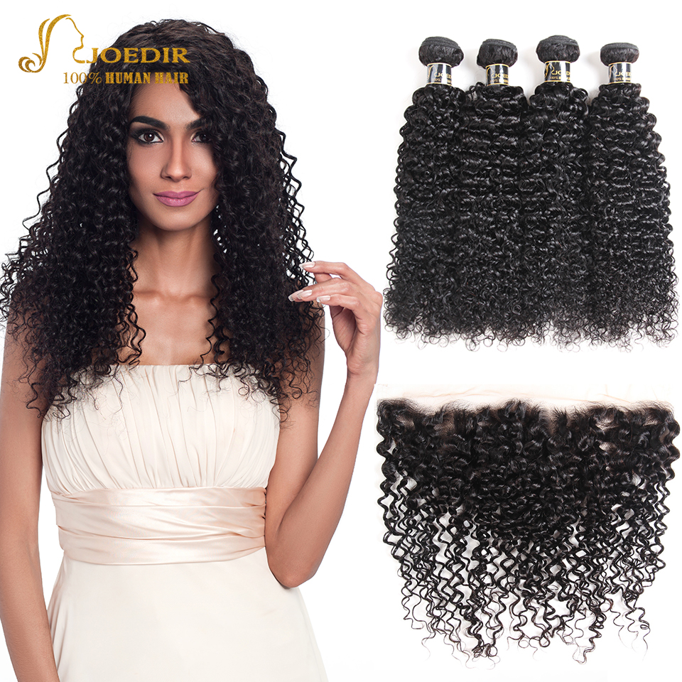 Joedir Brazilian Afro Kinky Curly Human Hair Weave Bundles With Frontal Closure Lace Frontal Closure With Bundles Non Remy