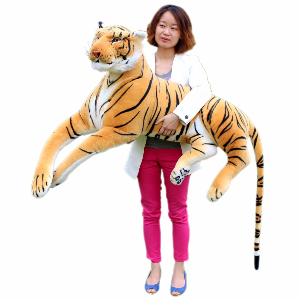 JESONN Giant Realistic Plush Toys Tiger Big Lifelike Stuffed Animals for Children's Birthday Gifts fancytrader new style giant plush stuffed kids toys lovely rubber duck 39 100cm yellow rubber duck free shipping ft90122