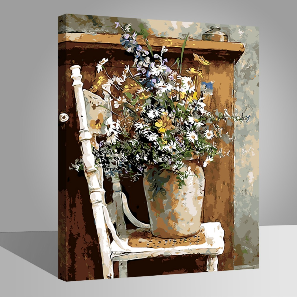 Flowers vase on chair picture painting by numbers modern wall art flowers vase on chair picture painting by numbers modern wall art picture diy hand painted canvas coloring home decor 2017 cheap in painting calligraphy floridaeventfo Images