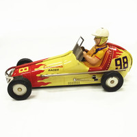 [Best] Adult Collection Retro Wind up toy Metal Tin Vintage automobiles No.98 F1 Racing car Mechanical Clockwork toy figures