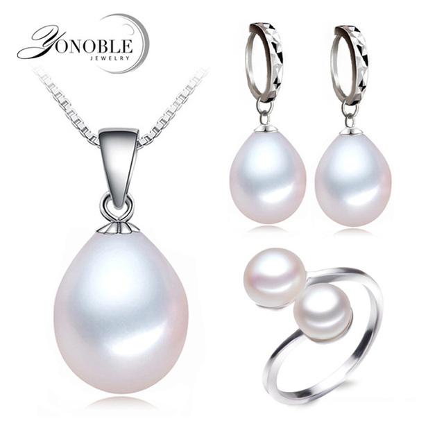 De agua dulce verdadera perla de la joyería de las mujeres, conjuntos de perlas naturales de ley 925 joyería de plata regalo de compromiso de cumpleaños de la muchacha de calidad superior