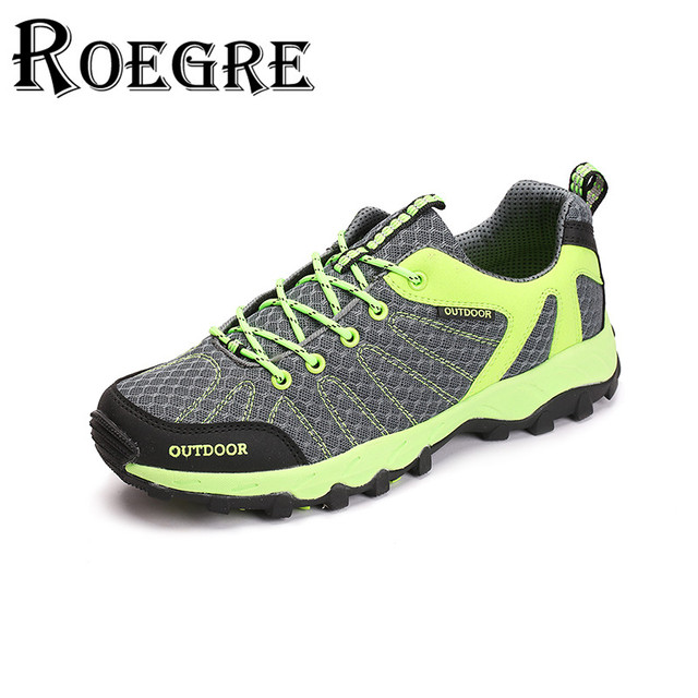 ROEGRE Stylish Unisex Outdoor Walking Trainers Shoes Lace Up Breathable Air Mesh  Casual Shoes 5 Colors Yellow