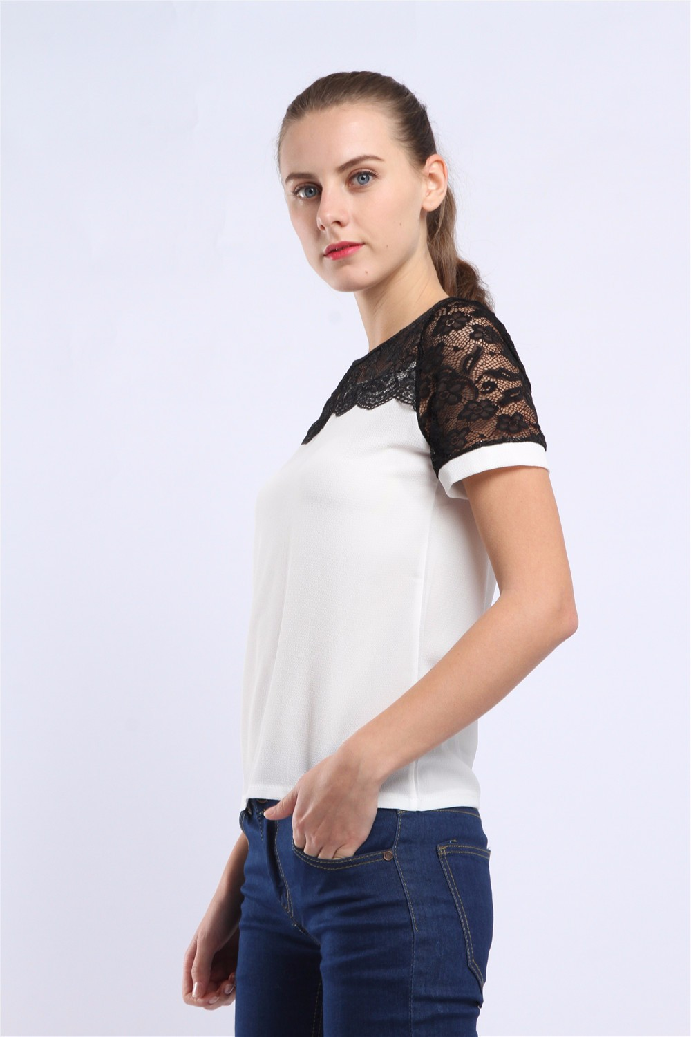 Women Blouses Summer Lace Chiffon Blouse Casual Blusa Feminina Tops Fashion Chemise Femme Shirts Plus Size 5XL Red White Pink 43