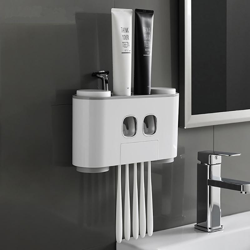 Wonderlife Bathroom Automatic Toothpaste Dispenser Toothpaste Squeezer Wall Paste Mounted Toothbrush Storage Holder