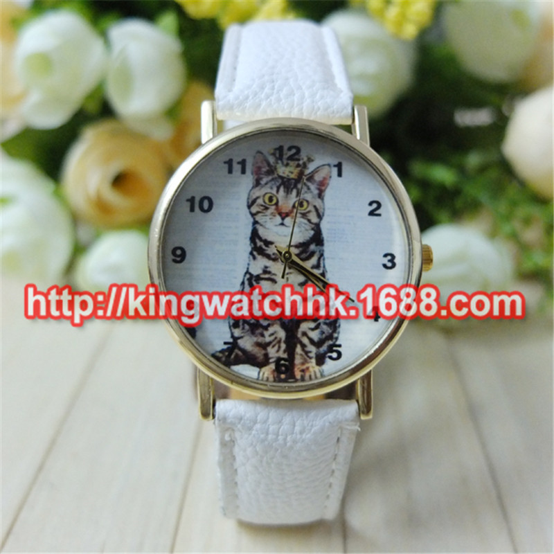 100pcs/lot, Vogue Cute Cartoon Women Lady Girl Lovely Cats Face Leather Quartz Analog Dress Wrist Watches