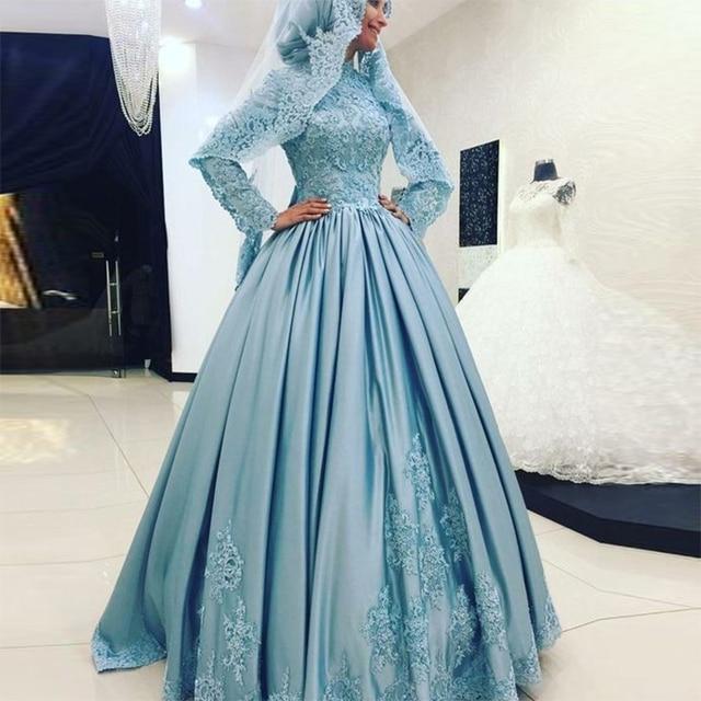 Hellblau Muslim Wedding Dress Hijab Langarm Türkisch Islamische ...