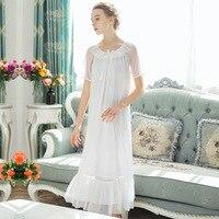 Summer Vintage Modal Mesh Nightdress Lolita Princess Sleepwear Women Short Sleeve Night Shirts Retro White Pink Black Bow