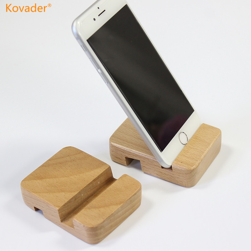 Kovader Beech Wooden Mobile Phone Universal Desk tablet Stand Support Portable Mini Holder for iPhone 6 6s 7 8 Plus ipad Samsung