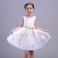 2017 New Arrival Baby Girls Summer Dress Girl Fashion Sleeveless Knee Length 2 Colors Red White