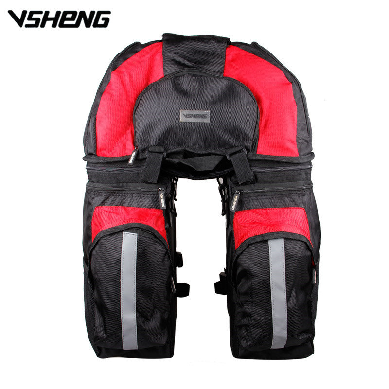 VSHENG Bicycle Bag Backpack Large Capacity Removable Bike Rear Seat Rack Package Cycling Storage Bag Riding Trunk Carrier Bag roswheel 50l bicycle waterproof bag retro canvas bike carrier bag cycling double side rear rack tail seat trunk pannier two bags