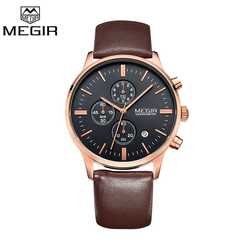 Prix pour Megir d'origine montre hommes top marque de luxe hommes montre en cuir horloge hommes montres relogio masculino horloges mannen erkek saat
