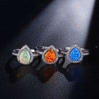 טבעות קשת מיסטי אש אופל טבעת קוקטייל לנשים ליידי כסף אגס צבע טבעות מסיבת אירוסין לחתונה אופנה אנל Anillo
