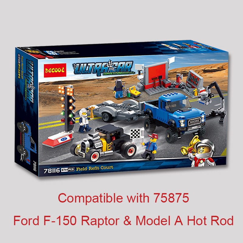 LEGOINGLYS Super Racers Series Speed Champions Field Refit Ford F-150 Raptor Model A Hot Rod 75875 Building Block Christmas Toys