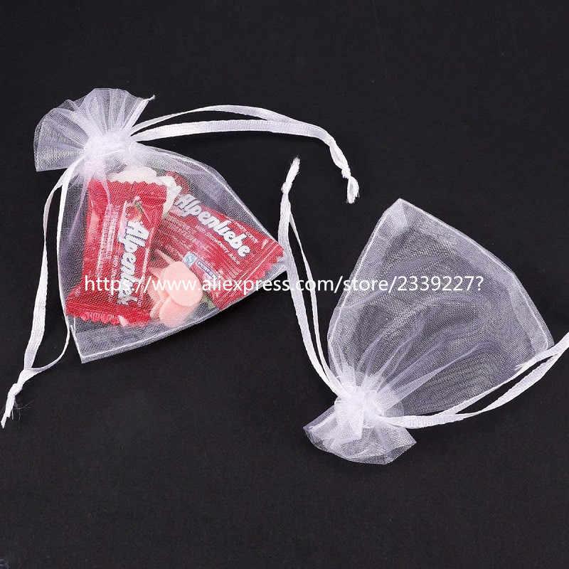 สีขาว 50/100pcs Eugen ผ้าพันคอสีขาวงานแต่งงาน Candy ของขวัญกระเป๋า Tulle Organza ถุง 7x9 9x12 10x15 13x18 17x23 ซม.6z