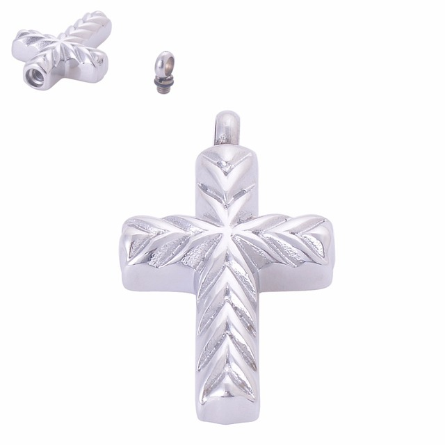 Carved Cross Urn Pendant