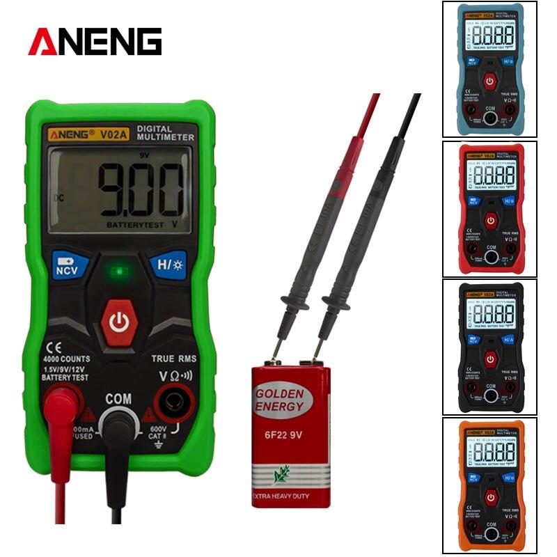 ANENG V02A 4000 Counts Full Intelligent Automatic Identification Measurement  Resistance Voltage Digital Multimeter Flashlight