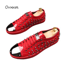 Ovxuan Men Loafers Metal Piece Toe Luxury Brand Handmade Men Rivets Shoes Banquet Prom Party Wedding Men dress Shoes Man Flats