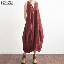 S-5XL ZANZEA 2019 Summer Dress Women Casual Loose Sleeveless V-neck Pockets Maxi Baggy Vestido Beach Robe Femme Plus Size