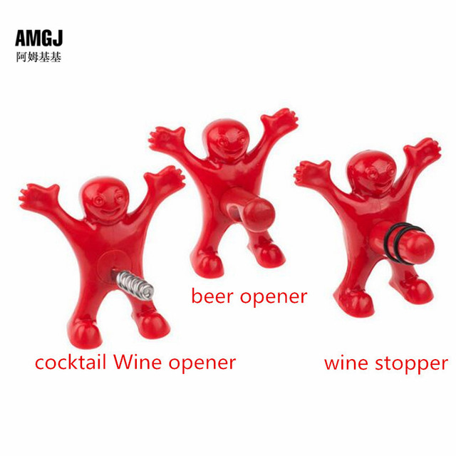 1pc Newest Funny Happy Man Guy Wine Stopper Opener Novelty Bar Tools Wine Cork Bottle Plug Perky 2016