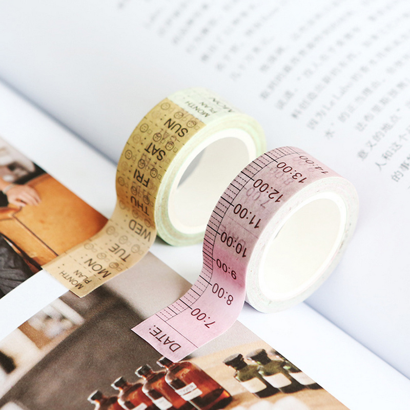 1.5cm*7m Timeline Week Plan Washi Tape DIY Decoration Scrapbooking Planner Masking Tape Adhesive Tape Label Sticker Stationery