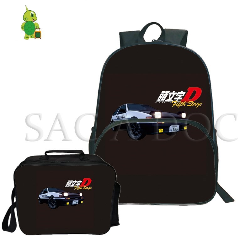 Anime Initial D 2Pcs/Sets Backpack Women Men Laptop Bags For Teenagers First Stage School Travel Rucksack With Cooler Bag