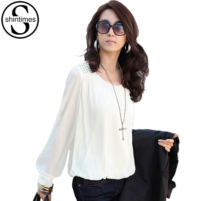 Model Women Tunic Blouse 2017 Long Sleeve Peplum Tops Casual Cotton Shirts