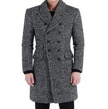 Елочка шерсти мужчины vintage largel ldouble грудью пальто мужские кашемировые пальто casaco masculino inverno серый большой размер 5XL