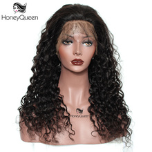 Deep Wave 360 Lace Frontal Wig Pre Plucked With Baby Hair 150% Density Brazilian Lace Front Human Hair Wigs Honey Queen Remy
