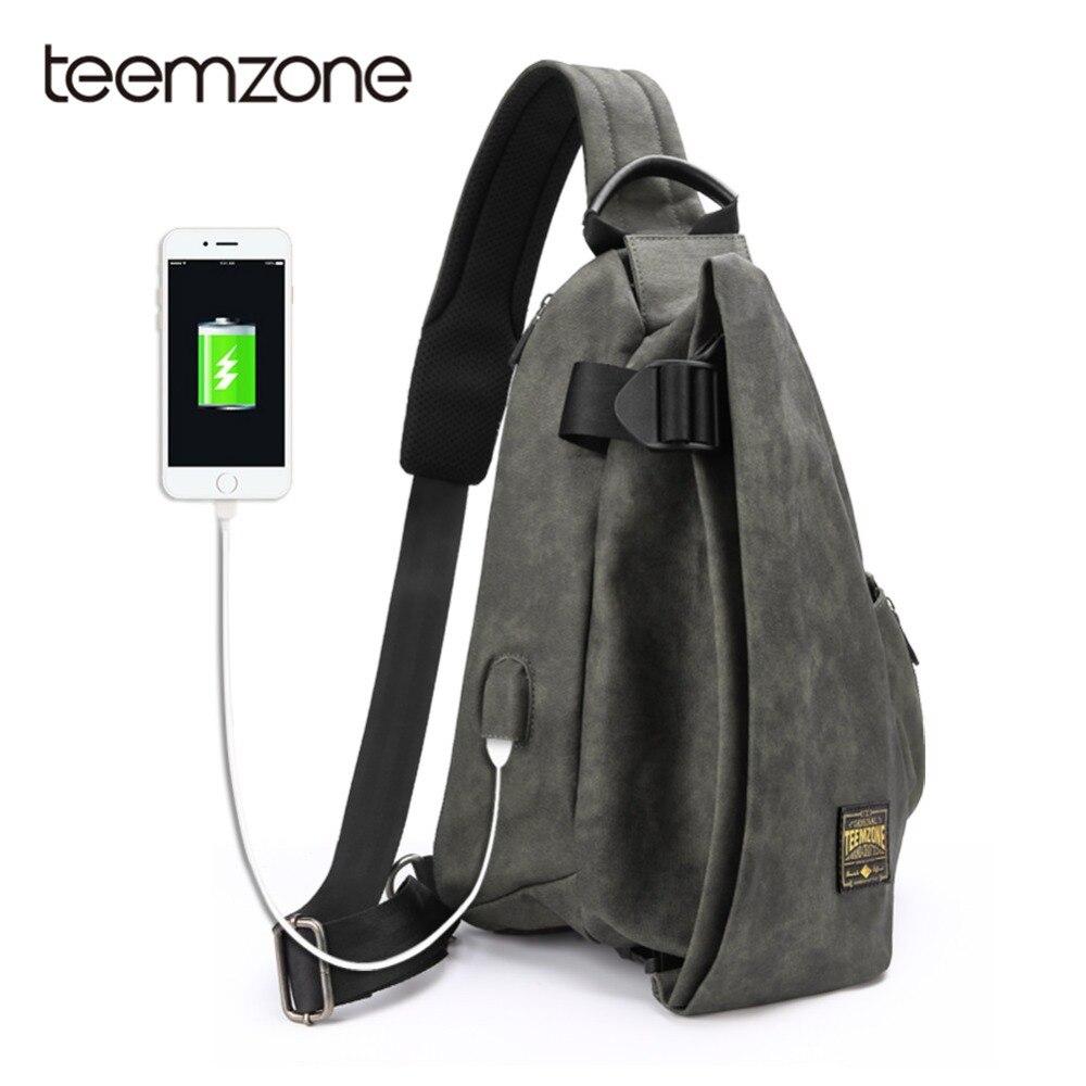 Teemzone Male Shoulder Bags USB Charging Crossbody Bags Men Anti Theft Chest Bag School Summer Beach Trip Messengers Bag T8020 beach trip