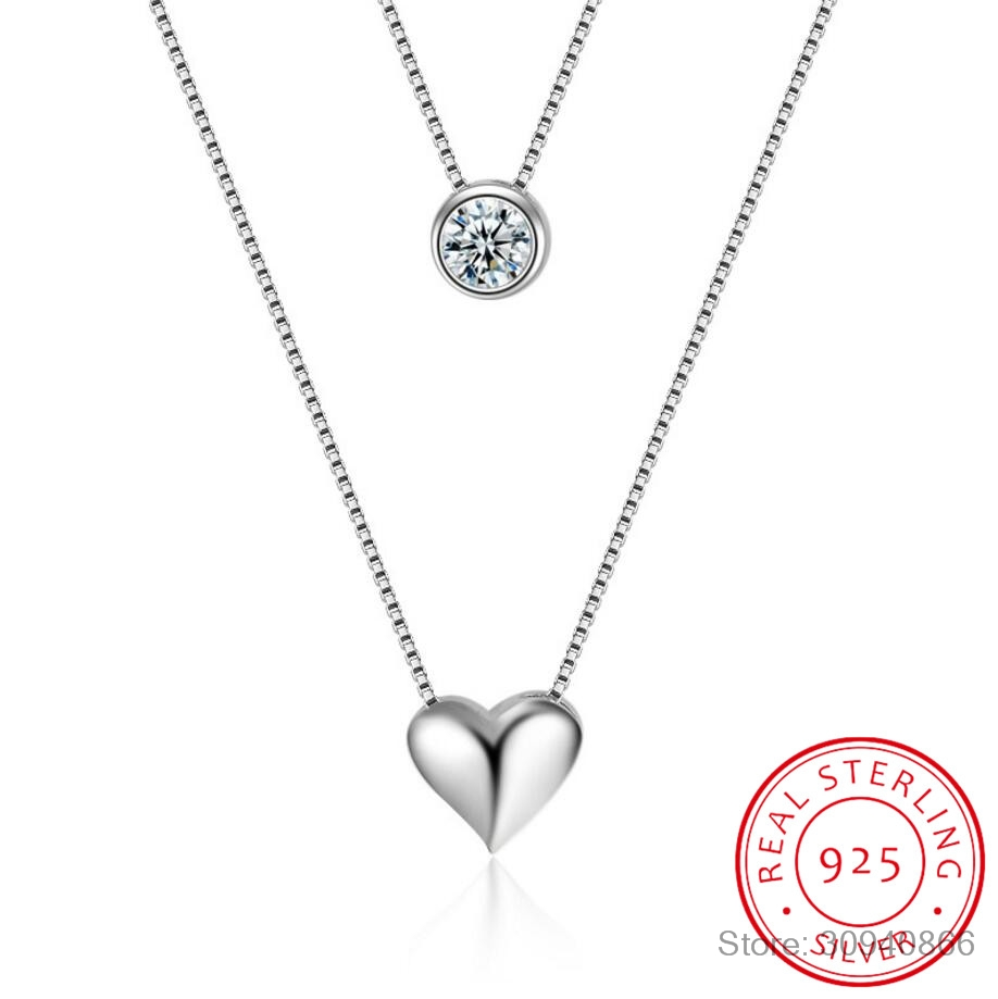 Wholesale Jewelry 925 Sterling Silver Double Layers Collarbone Necklace Chain CZ Love-heart Pendant Necklace For Women S-N157