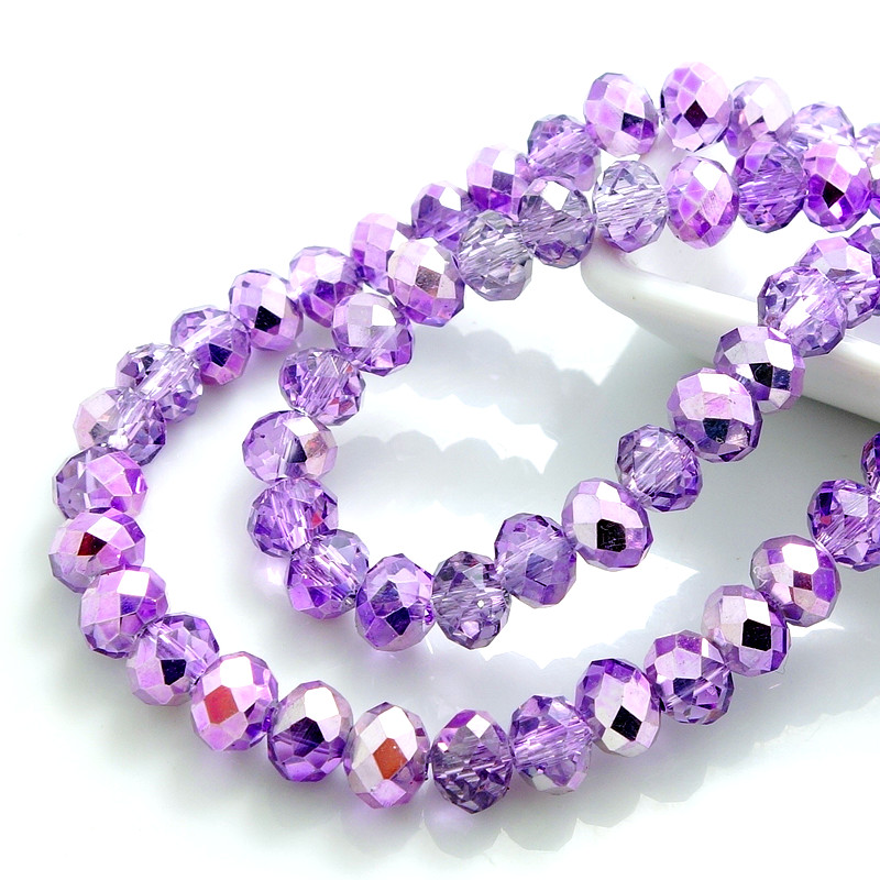 Hot Lots Rondelle Faceted Crystal Glass Loose Spacer Beads 3mm//4mm//6mm//8mm