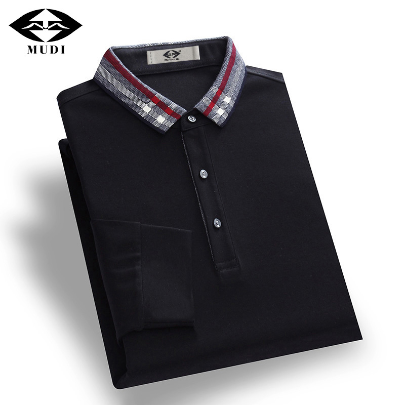 MUDI Brand Polo Shirt Men Autumn Winter Long Sleeve Slim Fit Polo Shirt Male Cool Pullover Turn Down Collar Solid Color Blouse