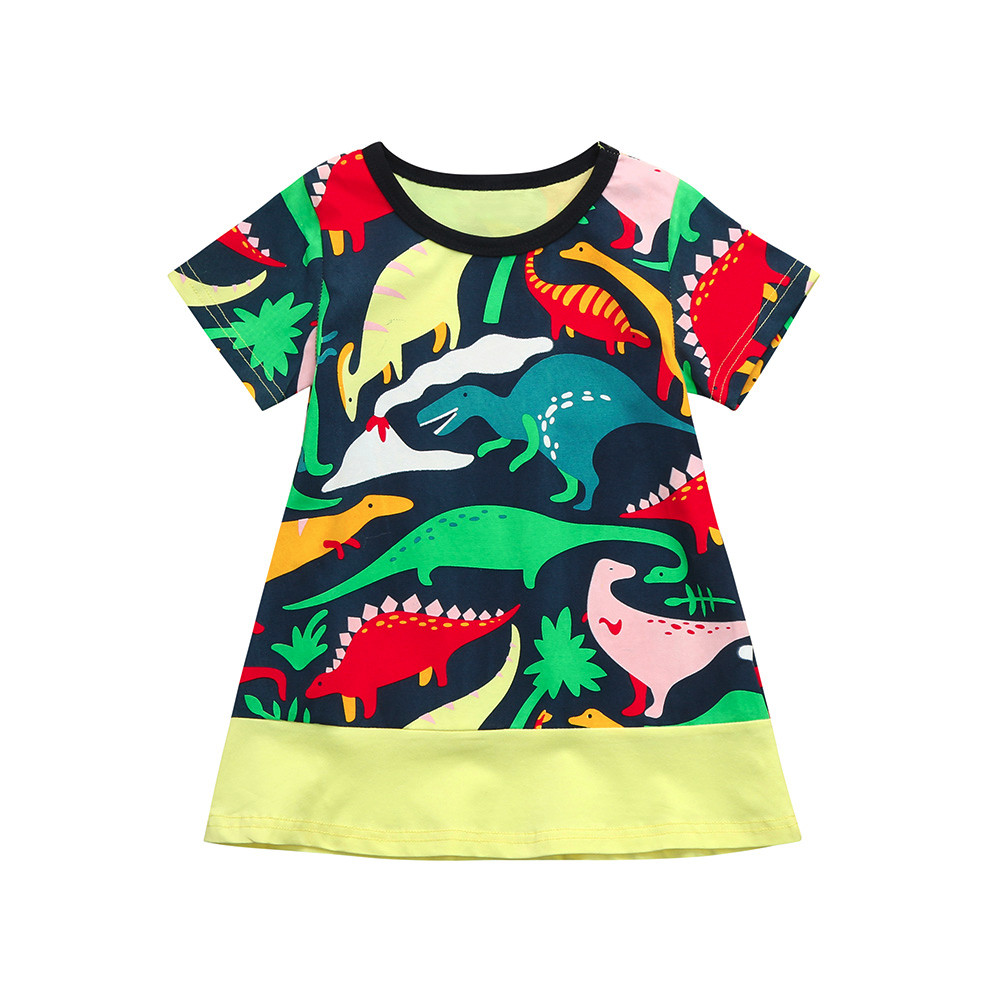 Telotuny Girls Dress Cotton 2019 New Fashion Toddler Kid Baby Girl Striped Floral Dinosaur Printed Princess Dress Clothes Marc18 Mother & Kids