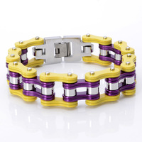17mm Huge Heavy Biker Jewelry Stainless Steel Silver Purple Yellow Motor Bicycle Chain Mens Boys Bracelet Bangle 8.66 Xmas Gift
