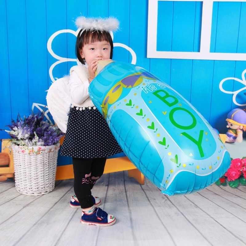 Nowy Baby Boy Girl Cute butelka mleka Baby Shower duży rozmiar z balonów foliowych akcesoria na przyjęcie urodzinowe dla dzieci różowy niebieski dekoracji
