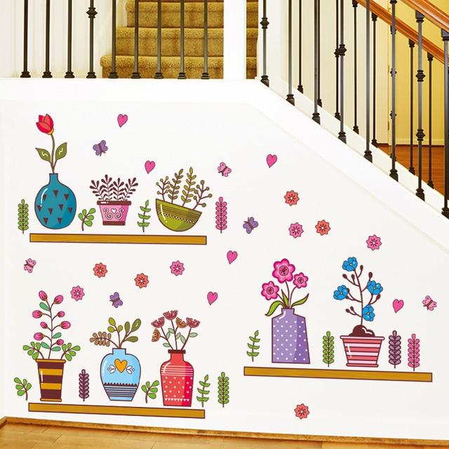 Us 753 Wymienny Diy Kolorowe Kwiat Bonsai Doniczki Roślin Ogrodowych Naklejki ścienne Dla Pokoju Gościnnego Okno Płytki Study Room Dekoracji