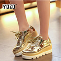 YOZO Women Shoes Fashion High Increasing Flat Platform Patent Leather Shoes Women Casual Shoes Brand Shoes Women Zapatos Mujer