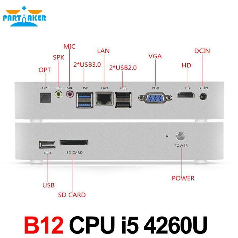 Partaker B12 Mini PC With i5 4260u i3 5005u N3150 Windows Desktop PC 12V VGA HDMI and Fan Mini Computer barebone mini pc intel core i3 4010y i5 4200y small nettops desktop computer vga hdmi wifi windows10 cooling fan inside