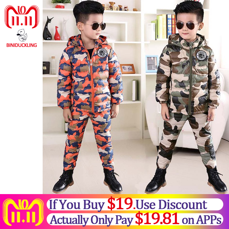 BINIDUCKLING 2018 Winter Boys Down Jacket Set Camouflage Hooded Thicken Warm Down Cotton Parkas+Pants Set for Girls jackets цена