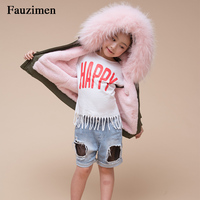Kid Winter Boomber unisex raccoon fur collar children outerwear coat fur lining warm thick bomber jacket