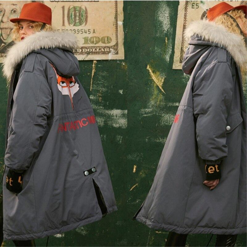 Mode Lf195 Taille Fourrure Manteau gray Nouveaux Chaud Le Imprimer White Bas À Grande 90 Longues 2018 La Veste Col Épais De Femmes Hiver Lâche Vers Capuchon gCtqwPwU