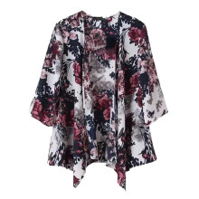 2017 NEW Vintage Women Ink Floral Print Blazer Batwing Kimono Coat Jacket Cardigan(China)