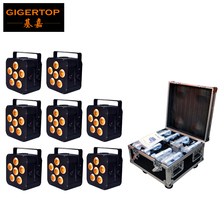Charging Flight Case 8in1 + 6x18W Wireless DMX Battery Powered LED Freedom Par Mobile Black Color Case Painting DMX512/Infrared