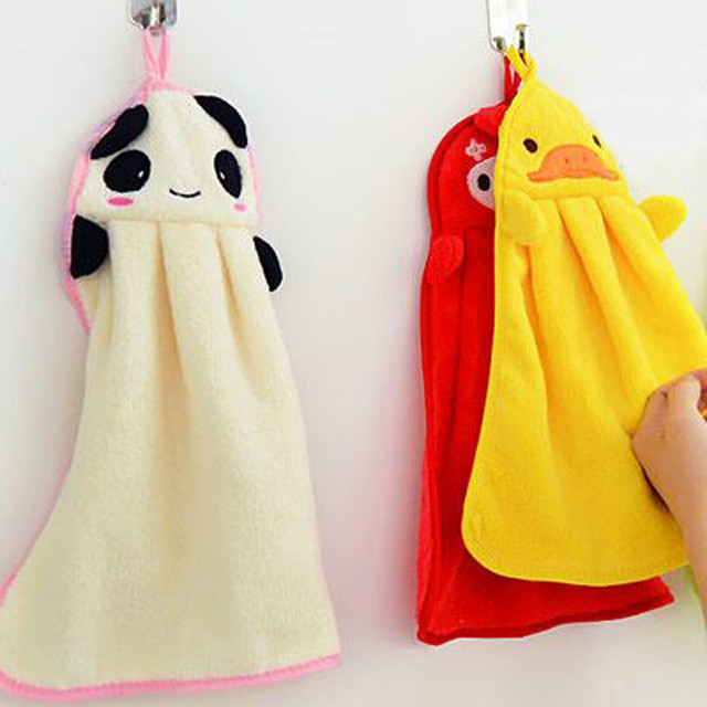 New Soft Hand Towels TENSKE 1PC High Quality Baby Kids Nursery Hand Towel Cartoon Animal Kitchen Bath Hanging Wipe Towels