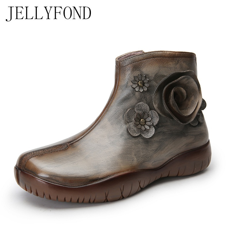 JELLYFOND Vintage Style Women Platform Ankle font b Boots b font Handmade Flower Genuine Leather font