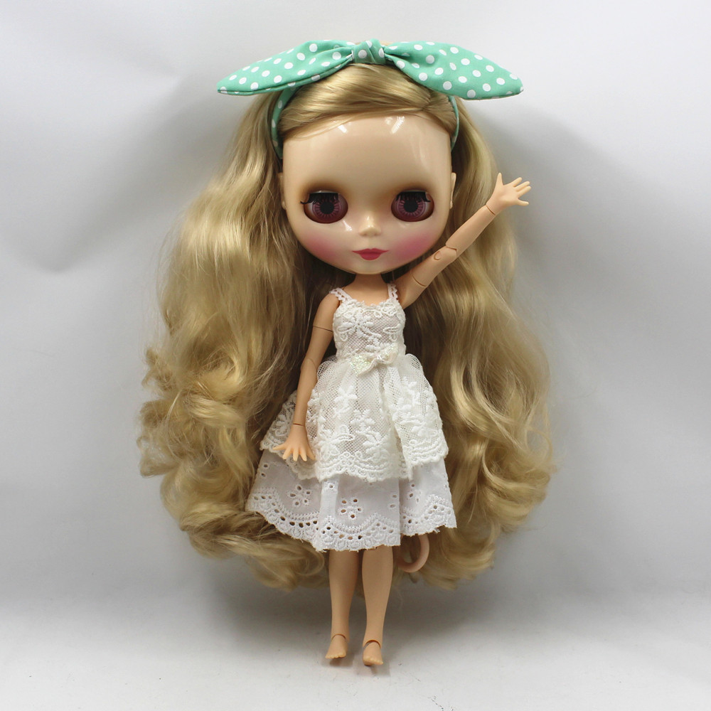 Fabriek blyth pop golden blond krullend lang haar side cutting joint body 280BL3715-in Poppen van Speelgoed & Hobbies op  Groep 3